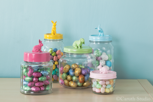 Easter bunny jars filled with candy