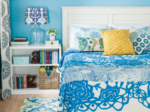 Blue bedroom makeover detail