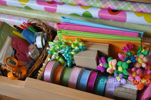 Gift wrap drawer detail