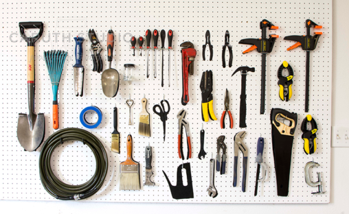tool pegboard with hanging tools