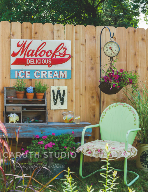 ice cream sign over a garden potting station