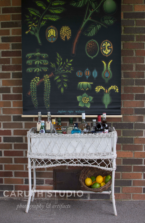 Wicker bar in front of a brick wall and botanical wall mural