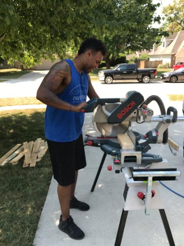 andrew cutting wood