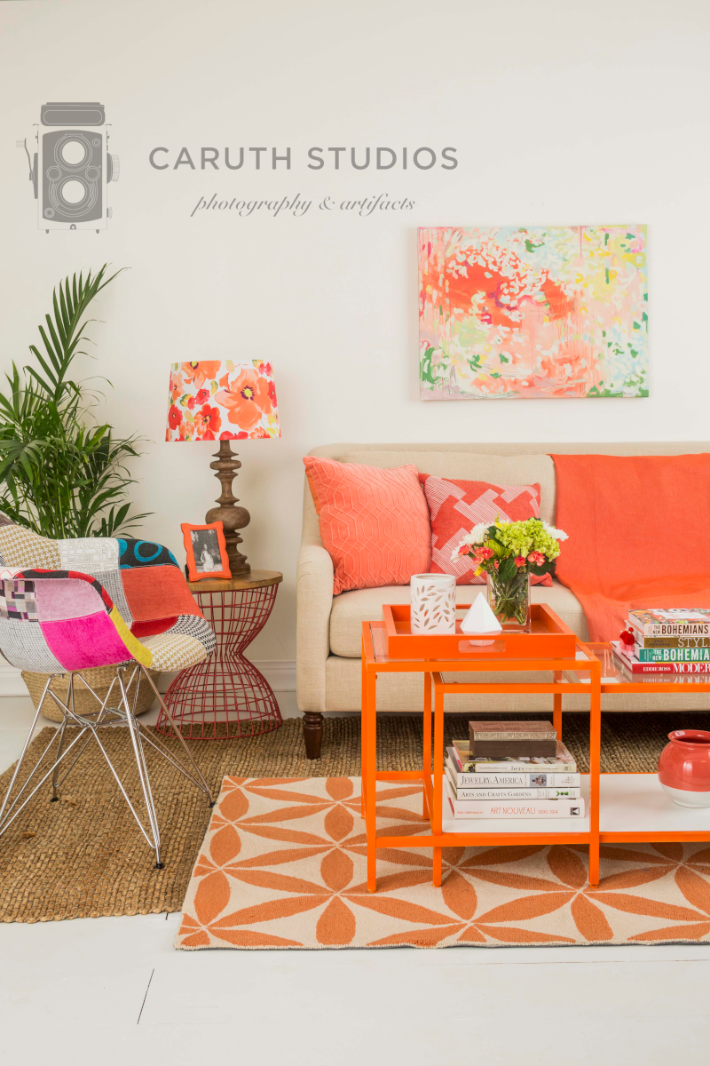 Orange and coral living room