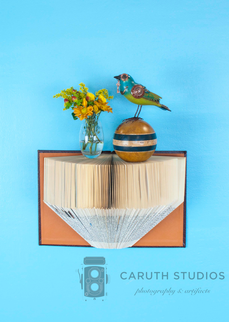 Folded book shelf with steampunk bird and flowers