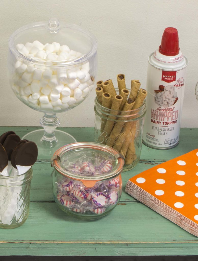 cocoa dressings of marshmallow, whipped cream and peppermint