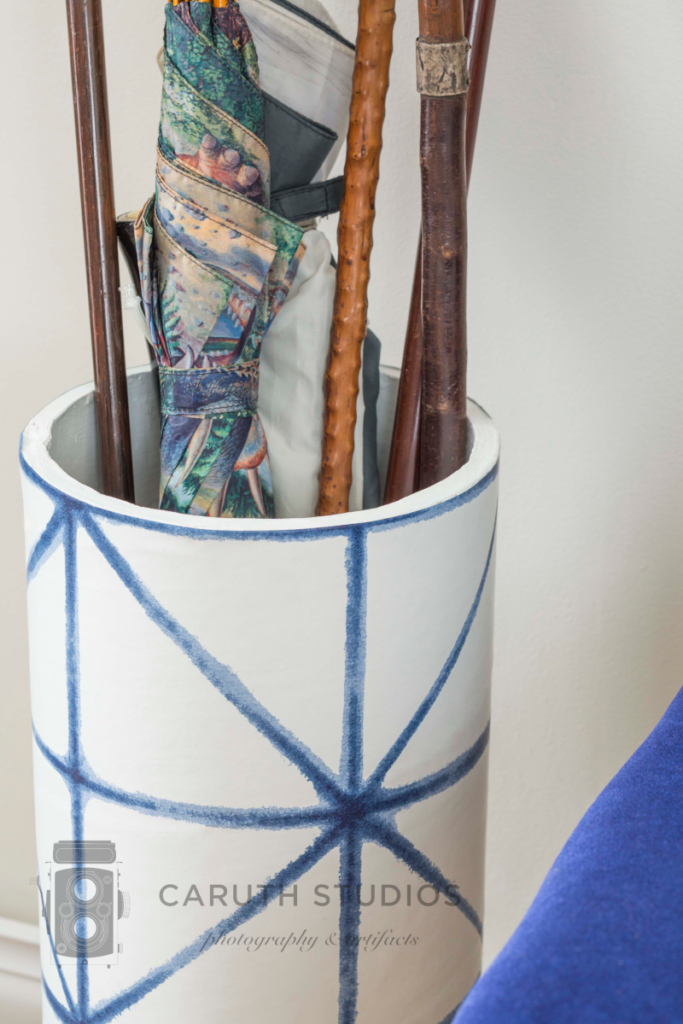 Wallpaper wrapped umbrella stand