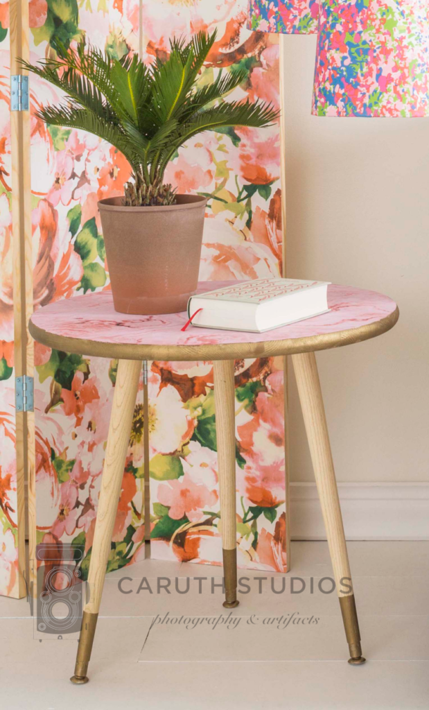 Wallpaper covered table