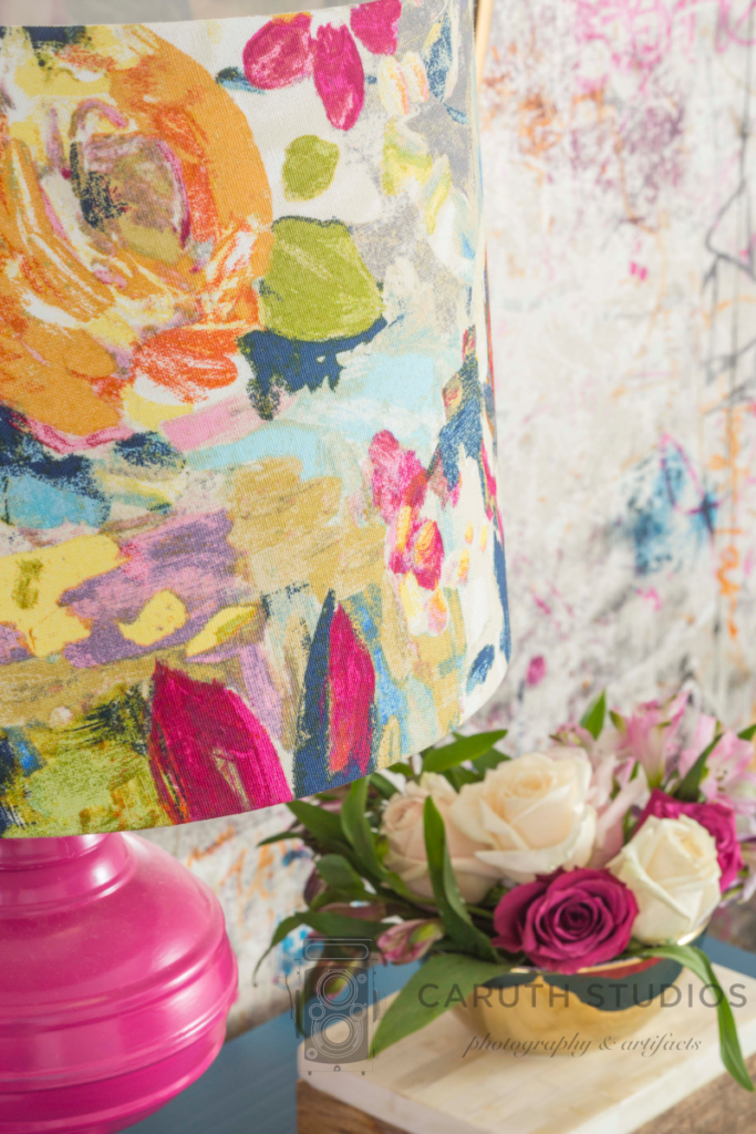 Floral fabric covered lampshade