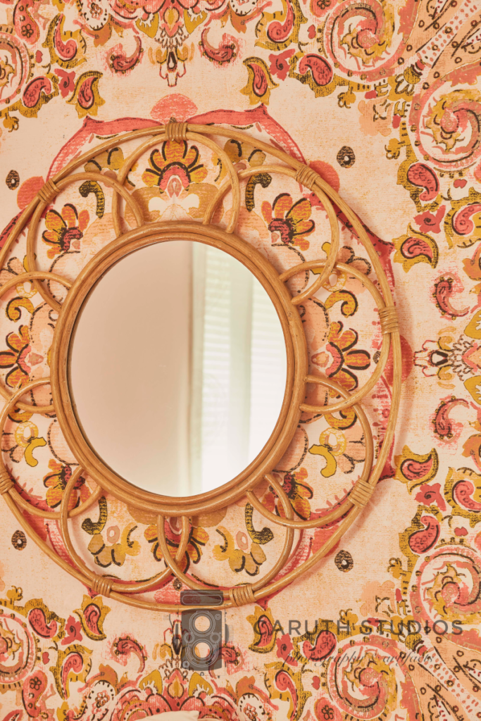Mirror and fabric panel