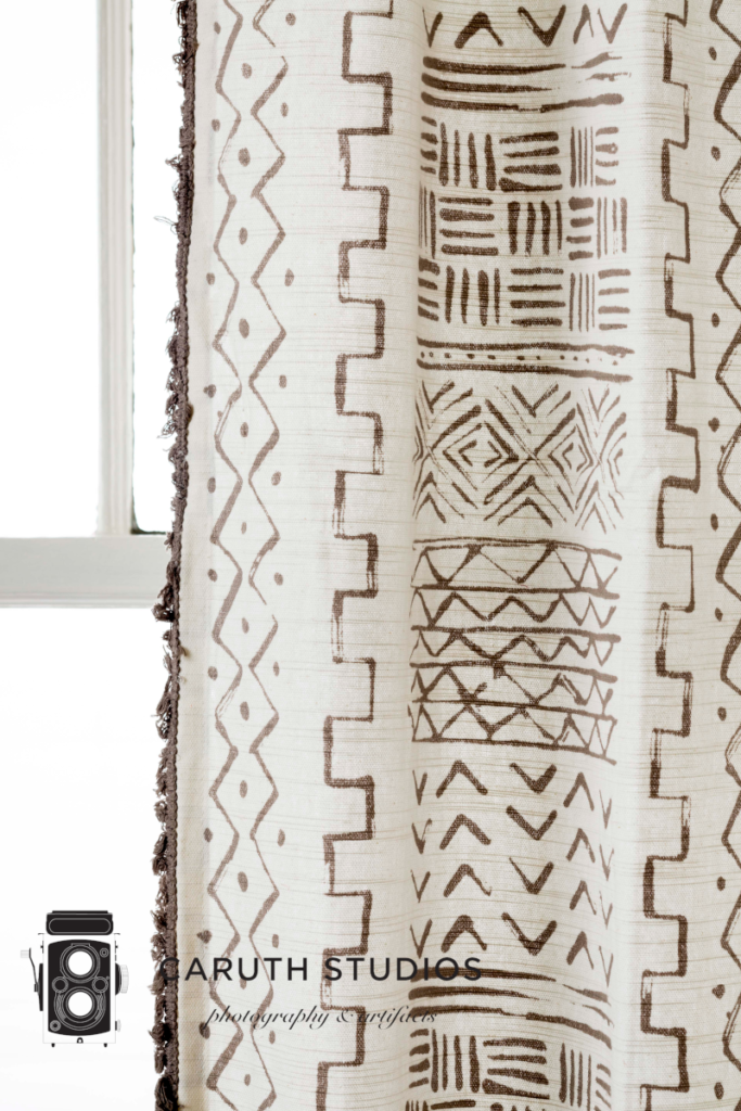 Mudcloth inspired curtain panel