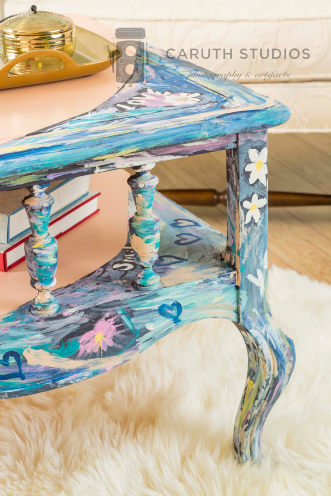 Painted table detail