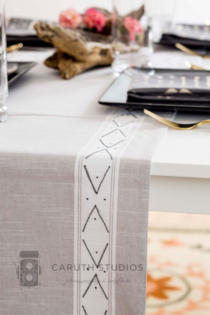 Table runner with mudcloth design