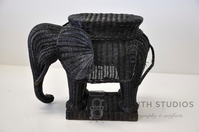 Wicker elephant before painting