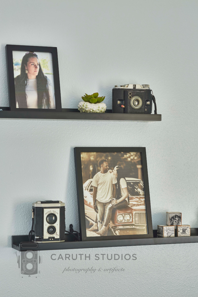 Photos and accents on display ledges