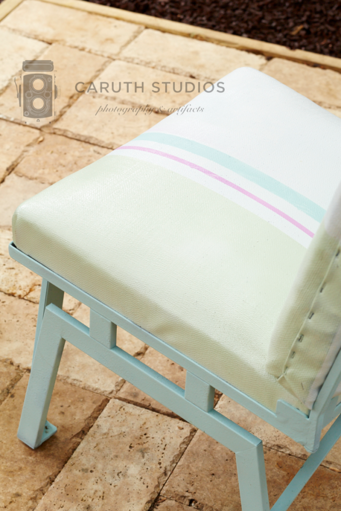 Chair with striped upholstery