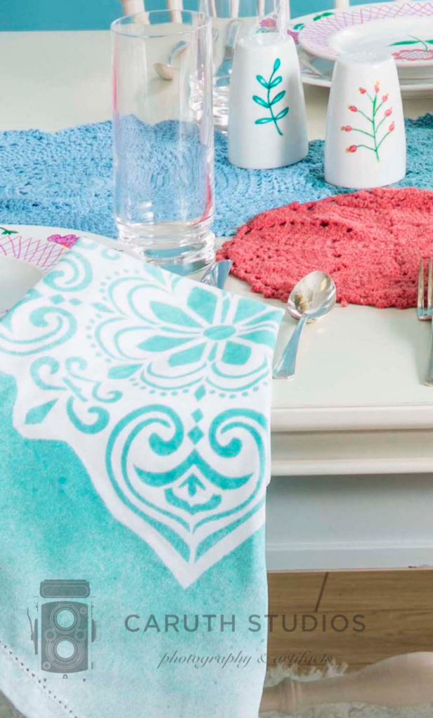 Stenciled napkin on table