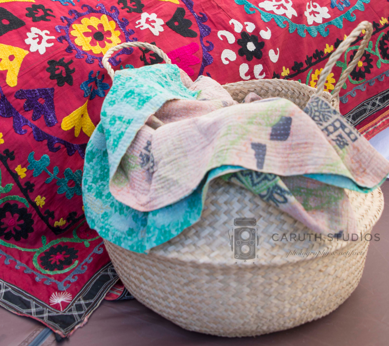 quilt in woven basket