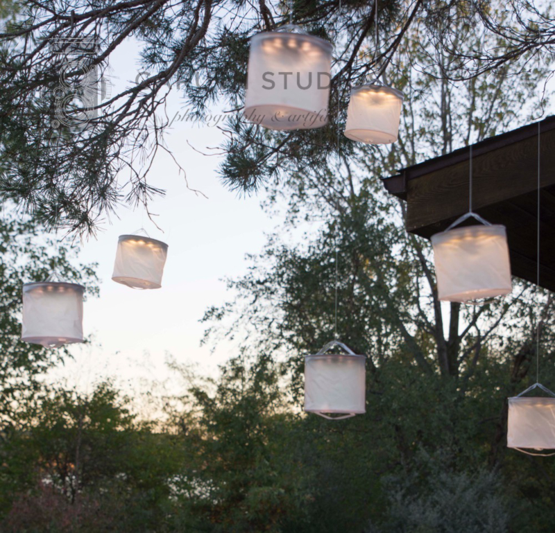 inflateable lights strung from a tree