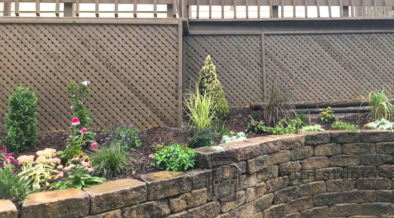 landscaped perinnial retaining wall